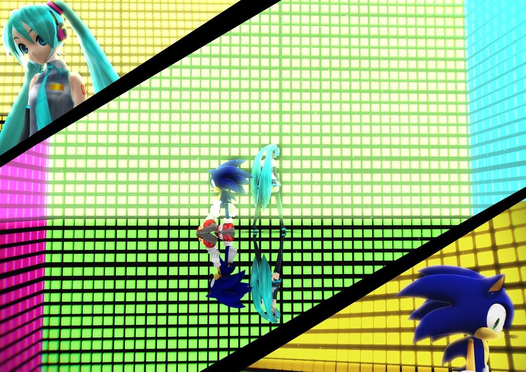 MMD: Hatsune Miku and Sonic The Hedgehog Bad Apple by BluexBlur