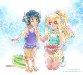 Teba and Kazuko Summer is coming :: Flamongirl13 by bibi-chan