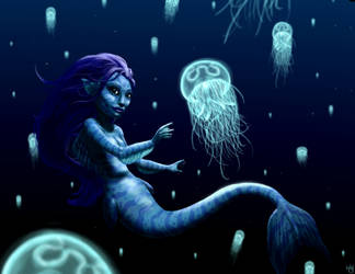 Mermaid and Jellyfish by HarryBuddhaPalm