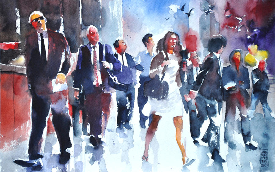 street watercolor paintings andreuccetti peoples amazing alessandro colorful painting figures streets watercolour water artwork artist deviantart human figure hate watercolours
