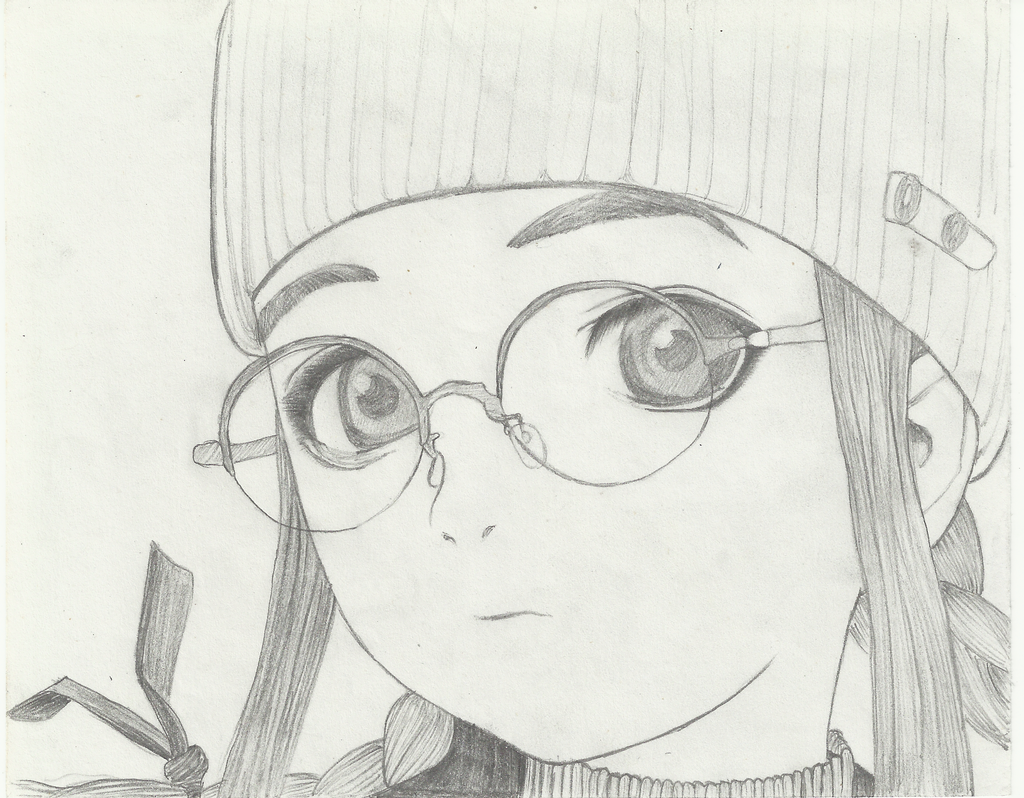 how to draw girl with glasses