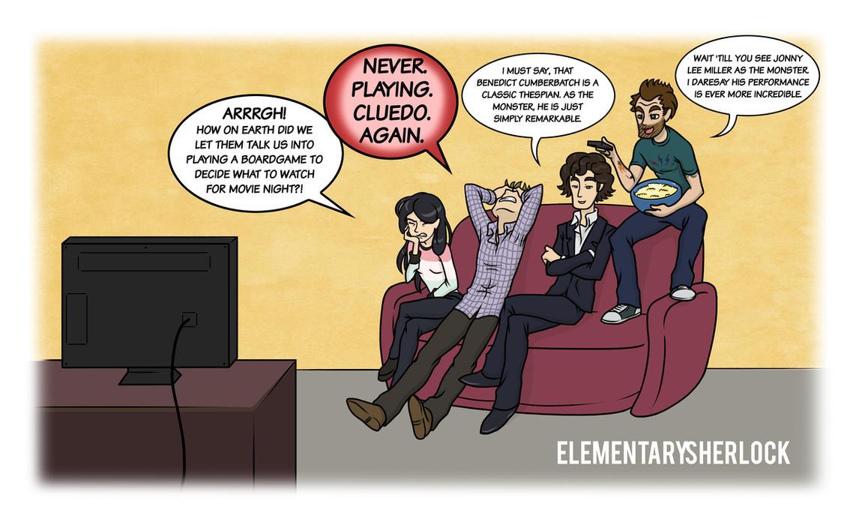 Elementary/Sherlock: Movie Night by maryfgr23