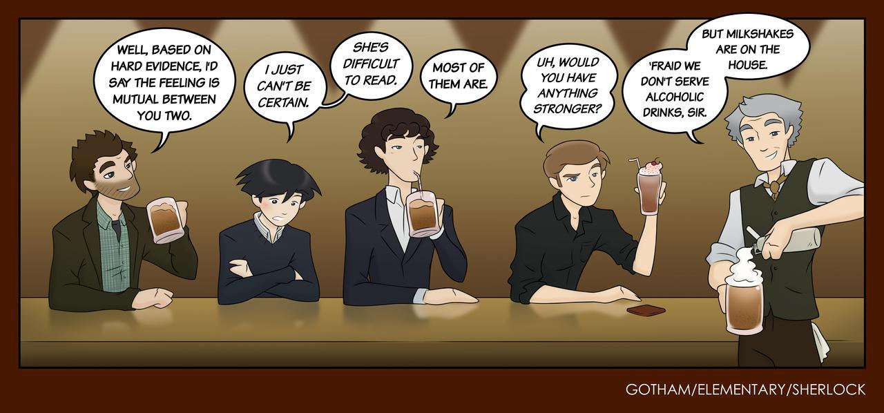 Gotham/Sherlock/Elementary Pin-Up: Detectives Bar by maryfgr23