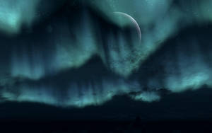 TESV Landscape - Moon and Aurora