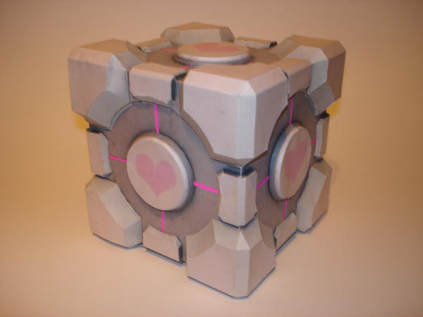 Companion Cube Papercraft by Skele-kitty