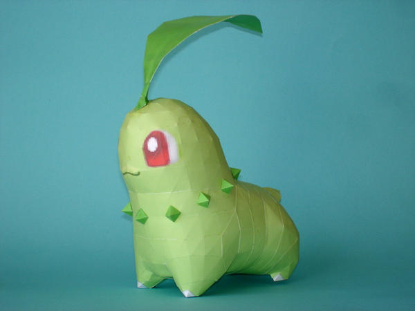 Chikorita Papercraft by Skele-kitty