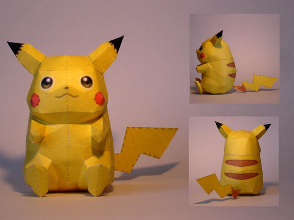 Pikachu Doll Papercraft by Skele-kitty