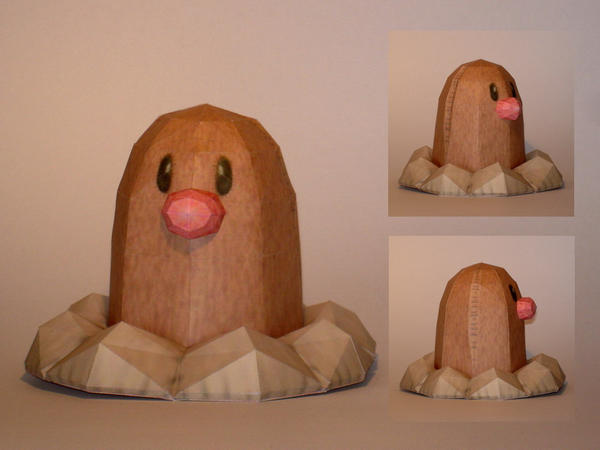 Diglett Doll Papercraft by Skele-kitty