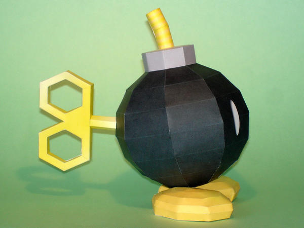 Bob-omb's 3D key Papercraft by Skele-kitty