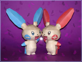 Plusle and Minun Papercraft by Skele-kitty