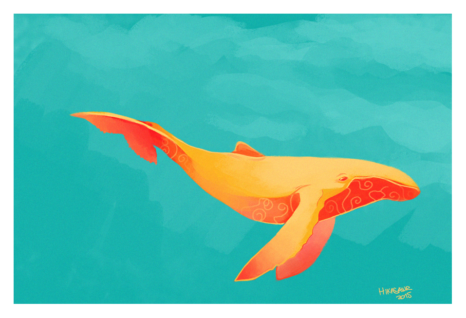 Split Complementary Colors Whale By Hikasawr