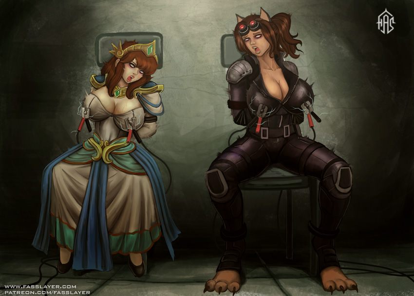 commission - Scylla and Bastet Game Over by FASSLAYER