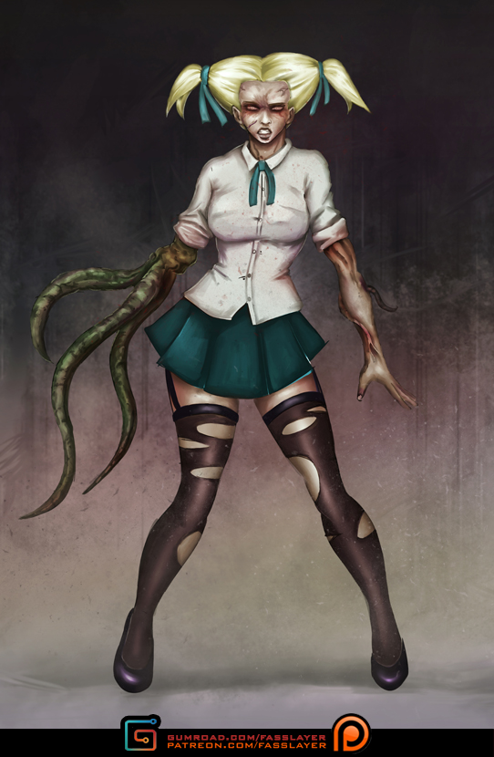 Zombie Schoolgirl by FASSLAYER