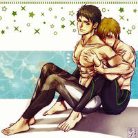 Free!: Makoto cupping Sousuke by scottwuming