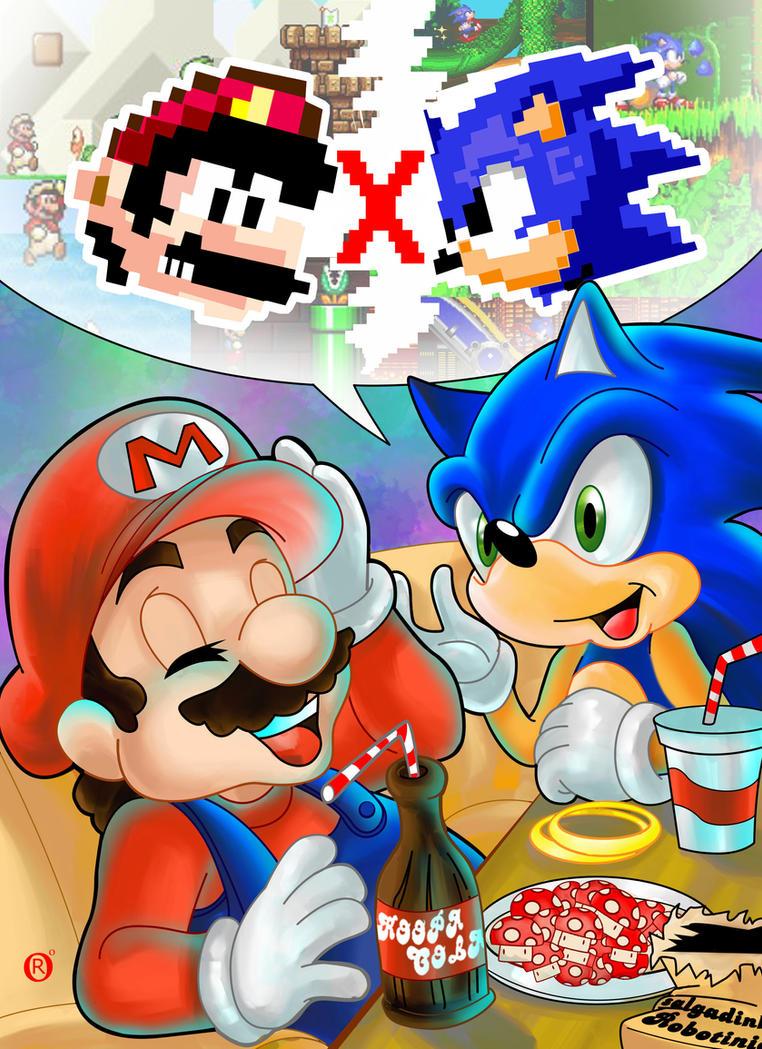 Mario and Sonic by shonemitsu