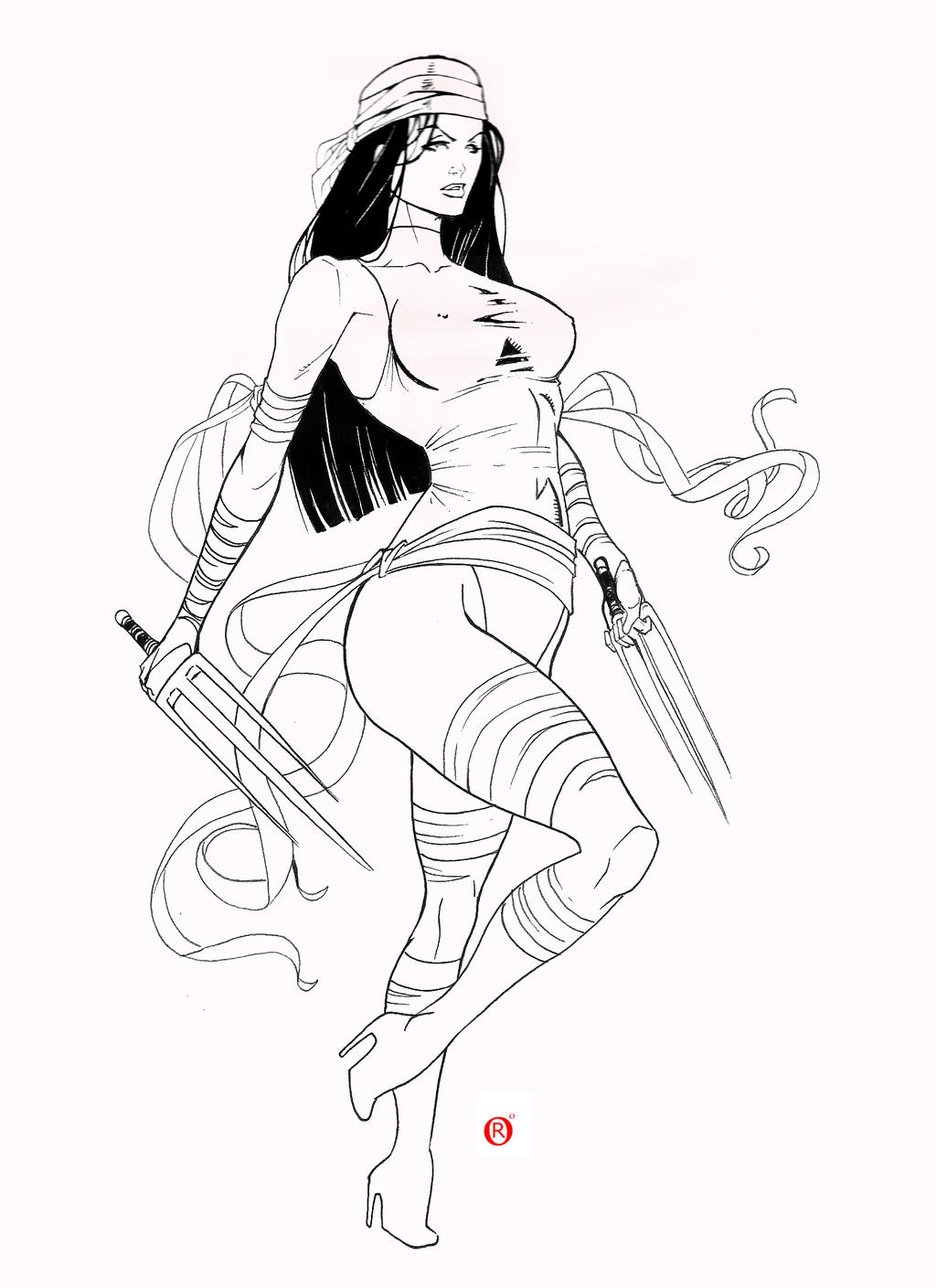 Line Art Marvel : Electra marvel by shonemitsu on deviantart