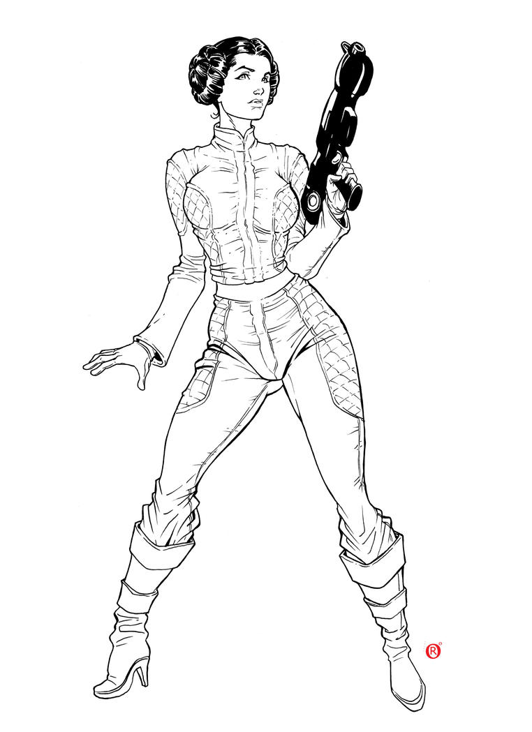 Princess leia star wars by shonemitsu on deviantart for Princess leia coloring page
