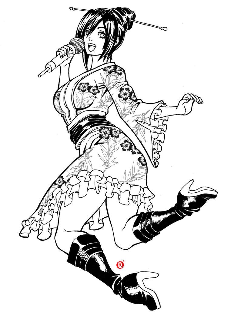 Commission Black and White -  Chisei Miyamot by shonemitsu