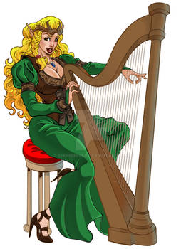 Commission Characther -  Elf playing the harp