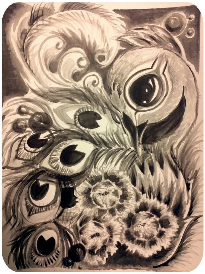 Peacock series black and white by lilmejium on deviantart for Peacock tattoo black and white
