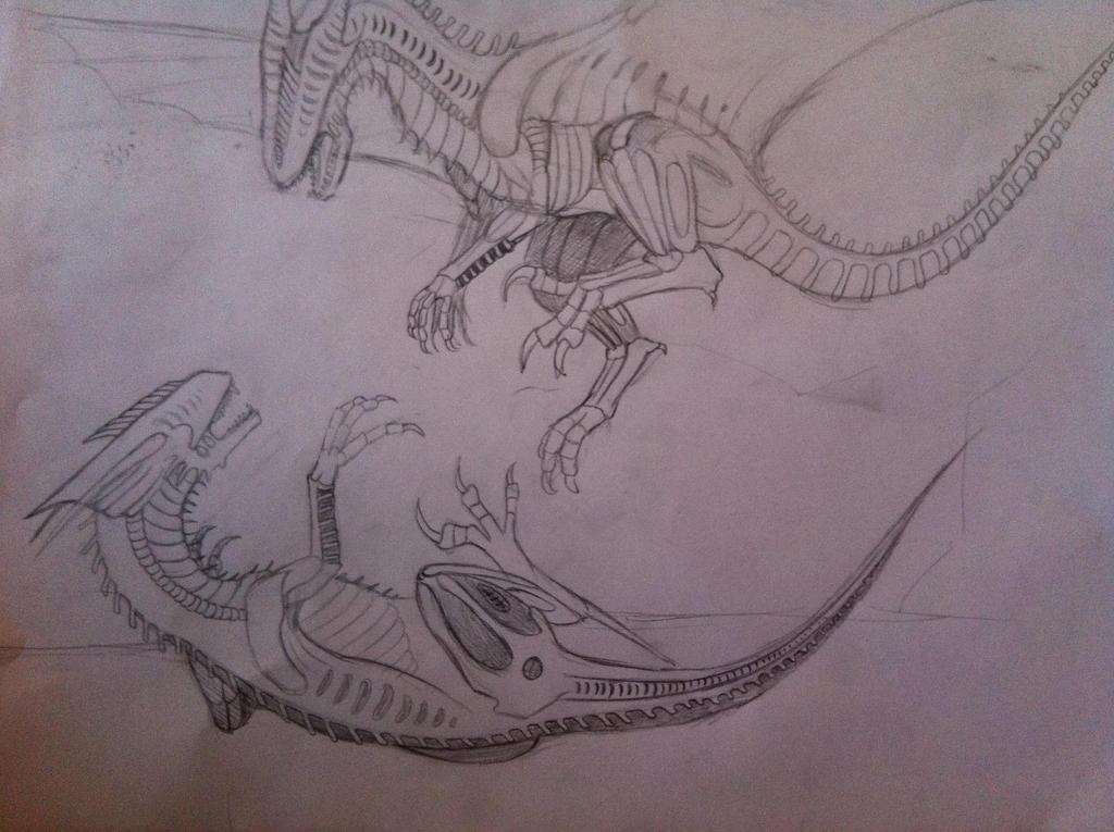 Pencil Drawings Of Dragons Fighting Alien Dinosaur/ Dragon...
