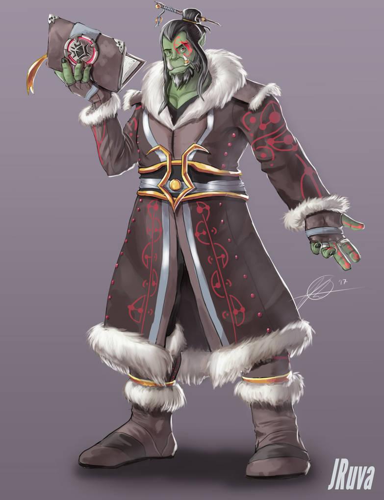 DnD  Orc Wizard - Garden by Jruva