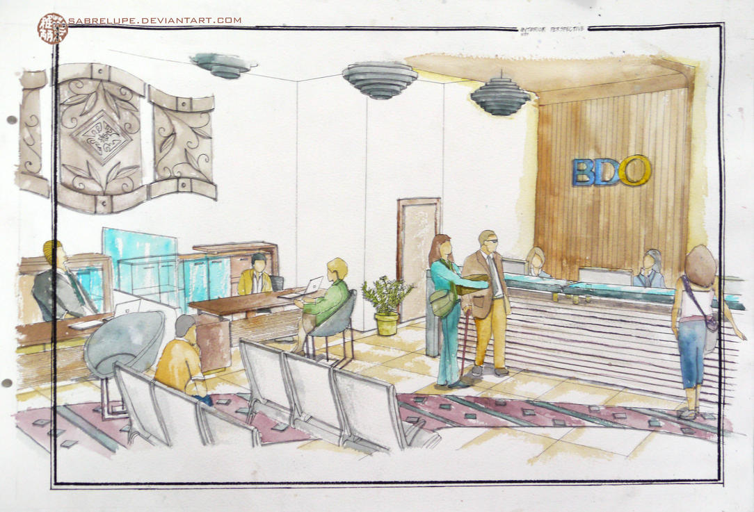Contemporary bank interior design in watercolor by for Bank designs architecture
