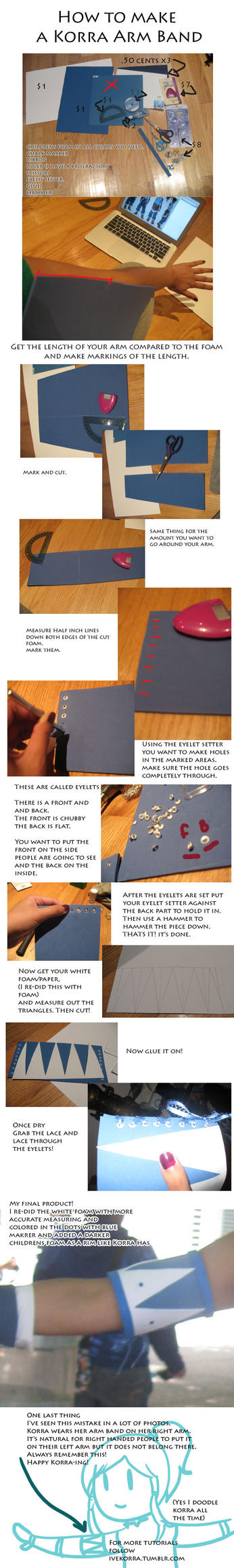 Korra Fuzzy Arm Band tutorial by Naiagu