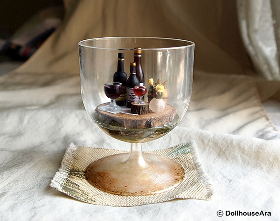 Vintage Wine glasses cup Drink tray decor set by