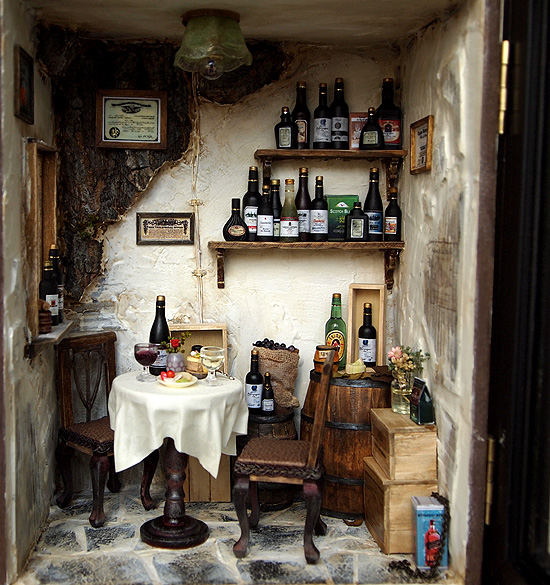 Vintage Country small Wine Shop -Ooak wine bar by dollhouseara ...