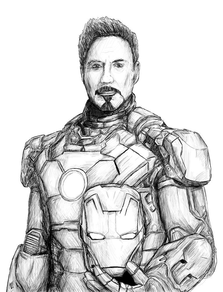 Iron Man 3 Portrait Sketch by GerardGroves on DeviantArt