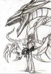 FA Yugioh: Line Art yami and Osiris by Phoenixkai