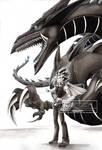 Fanart Yugioh: Yami yugi and slifer the sky dragon by Phoenixkai