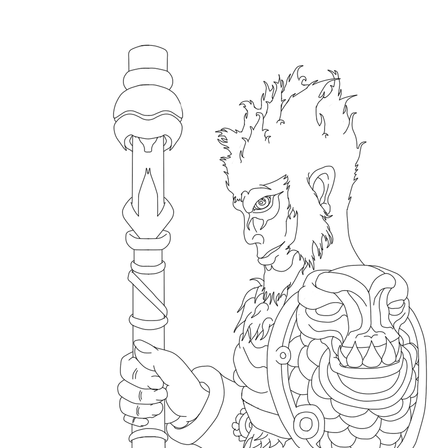 Line Art Monkey : Line art wukong the monkey king by cloutar on deviantart
