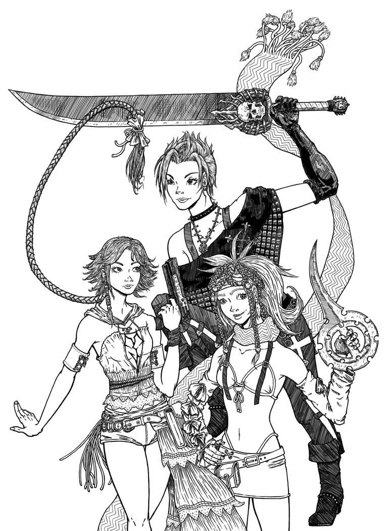 Final Fantasy X - 2: Paine, Yuna, and Rikku by canadamaestro