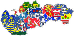 Heraldic map of counties in Slovakia