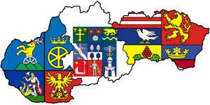 Heraldic map of three Slovak regions