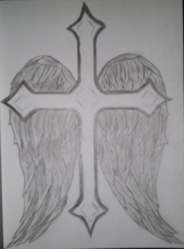 It's just a picture of Smart Cross With Wings Drawing