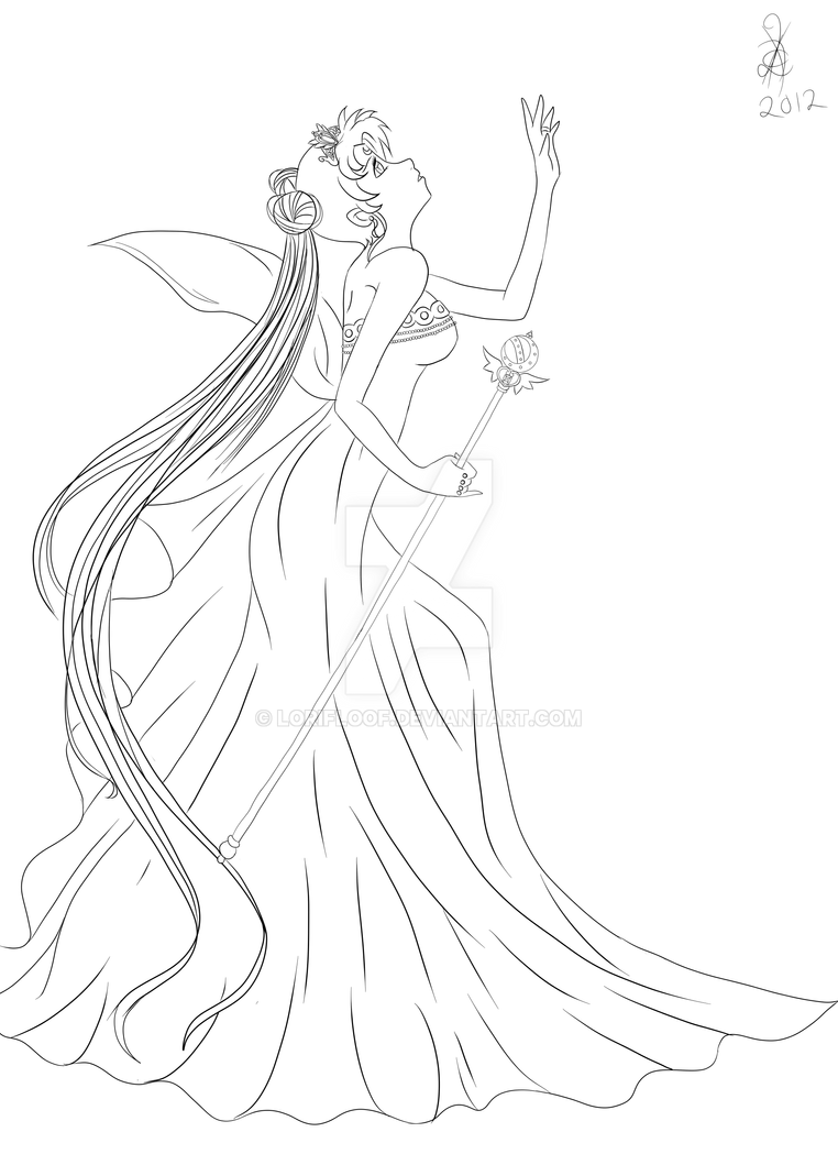 Sailor moon queen serenity drawings the for Serenity coloring pages