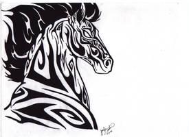 Tribal Horse by darkmoonwolf21