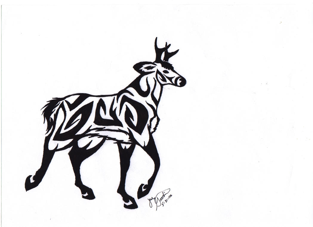 tribal deer by darkmoonwolf21 on deviantart