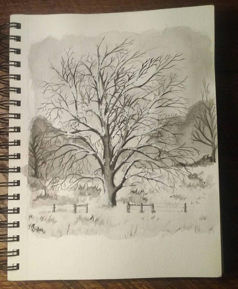 Tree Ink Painting by Lynxcall