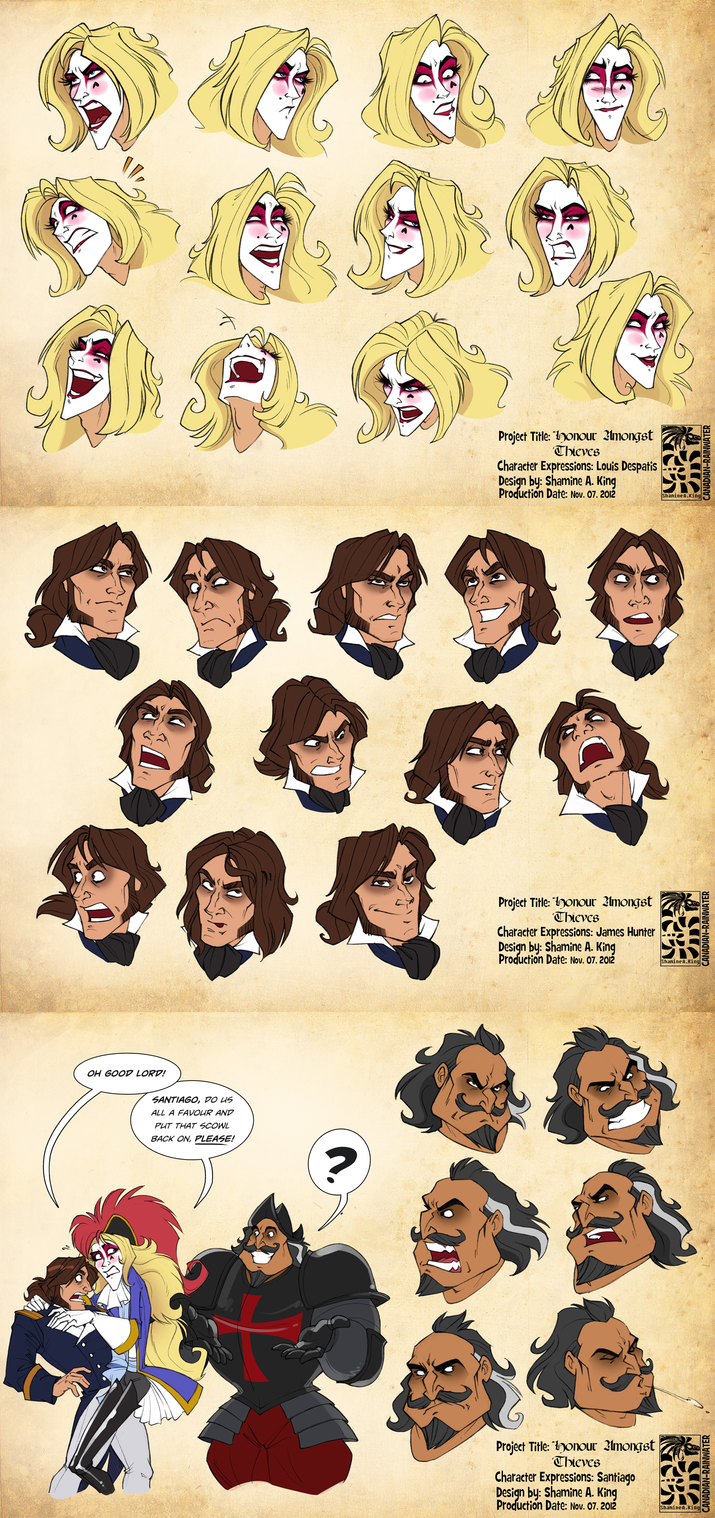 Character Expressions - Louis, James, Santiago by Canadian-Rainwater