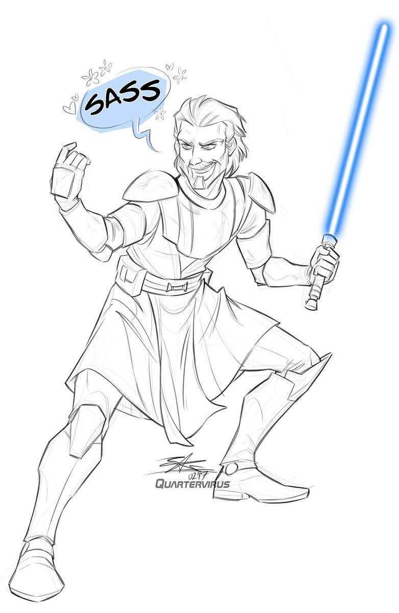 Sketch Raffle: Sassy-Wan Kenobi for Chris by Quarter-Virus
