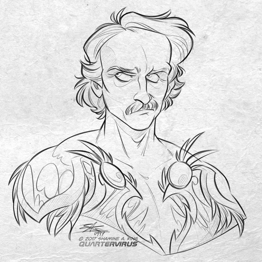 Patron Reward: Edgar Poe for Elizabeth Cappelano by Quarter-Virus