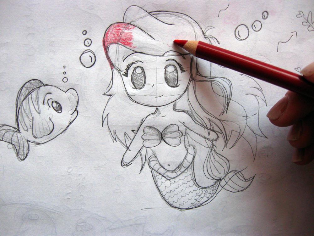 my chibi mermaid draw by petitetangerine