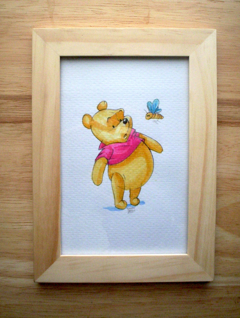 Disney's Winnie the Pooh in ink framed by steveabbo