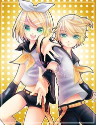 Rin and Len Kagamine by KarameruYukika