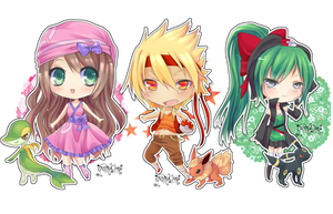 Chibi Commisssion: Pokemon team by KarameruYukika