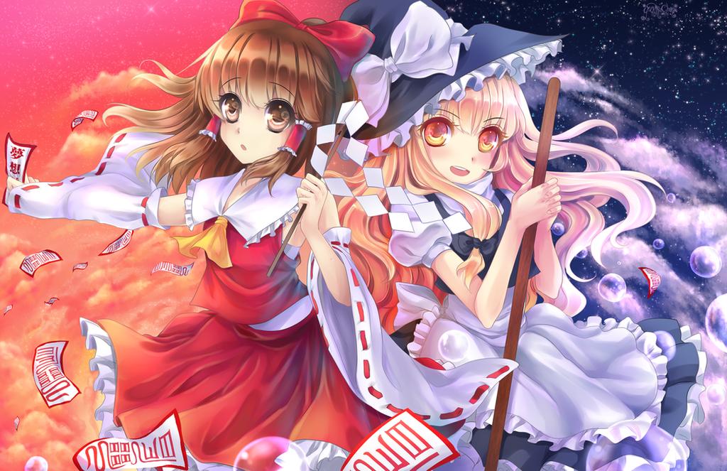 Reimu Marisa Fantasy by KarameruYukika